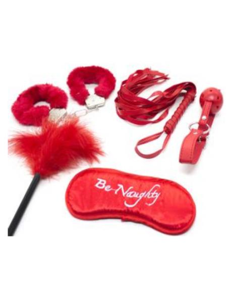 БДСМ набор (наручники мeталлические, маска, кляп, плеть, щекоталка с пухом), красный