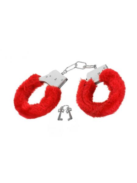 Наручники Metal Handcuff с меховой отделкой, красные